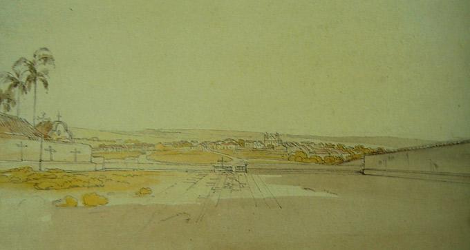 Pintura de Thomas Ender a partir do Convento de Santa Clara. O centro urbano de Taubaté em sua quase totalidade, em 1822