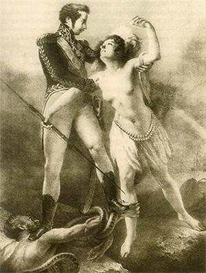 Alegoria de Juramento a Constituição de 1824 Dom Pedro salva a índia que representa o Brasil da ameaça do absolutismo.