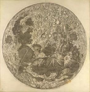 Mapa da Lua elaborado por Giovanni Domenico Cassini em 1679. British Library Board