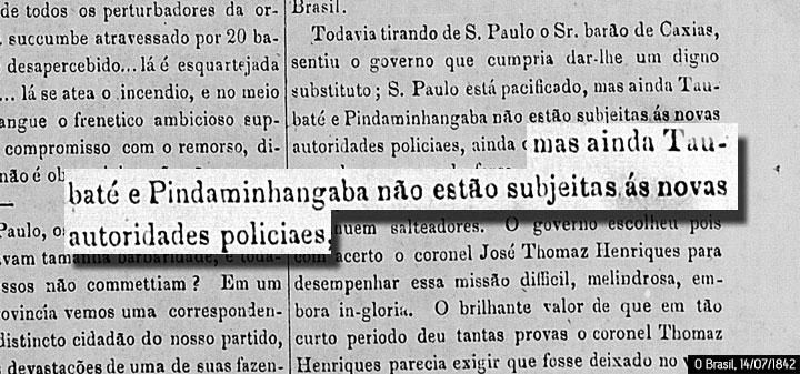 O Brasil, 14/07/1842. Acervo Biblioteca Nacional