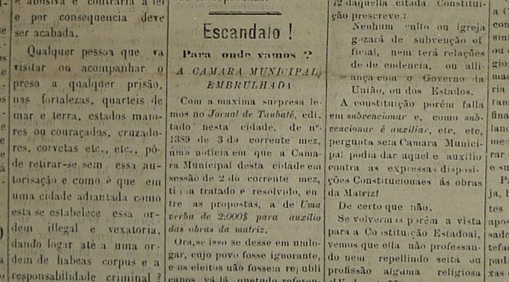 O Taubateano, 5 de janeiro de 1902. Acervo DMPAH