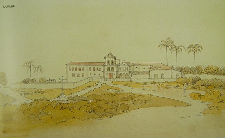 Convento Franciscano em Taubaté. Lápis aquarelado por Thomas Ender, em 1817.