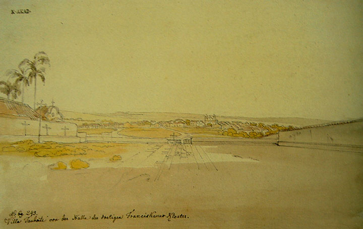 Vila de Taubaté vista do átrio do Convento Franciscano. Lápis aquarelado por Thomas Ender em 1817.