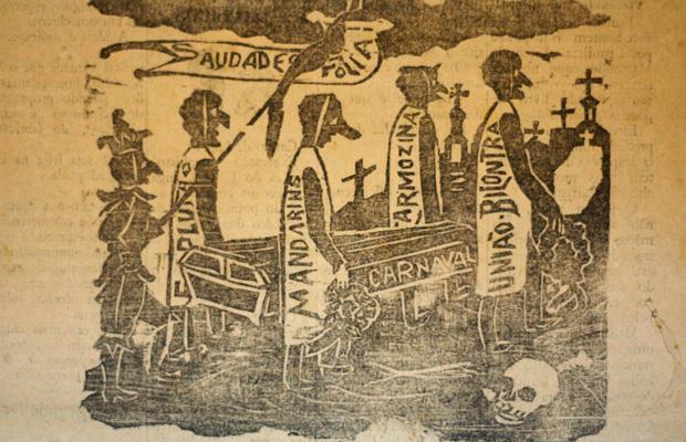 Ilustração faz referência ao bloco carnavalesco Os Coveiros. O Caixeiro de 1904 (acervo DMPAH)