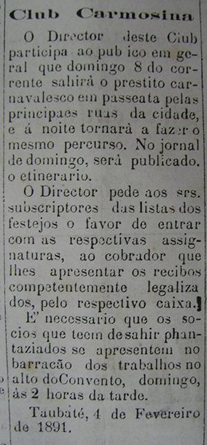 Nota publicada no Jornal de Taubaté, em 1891. Acervo DMPAH