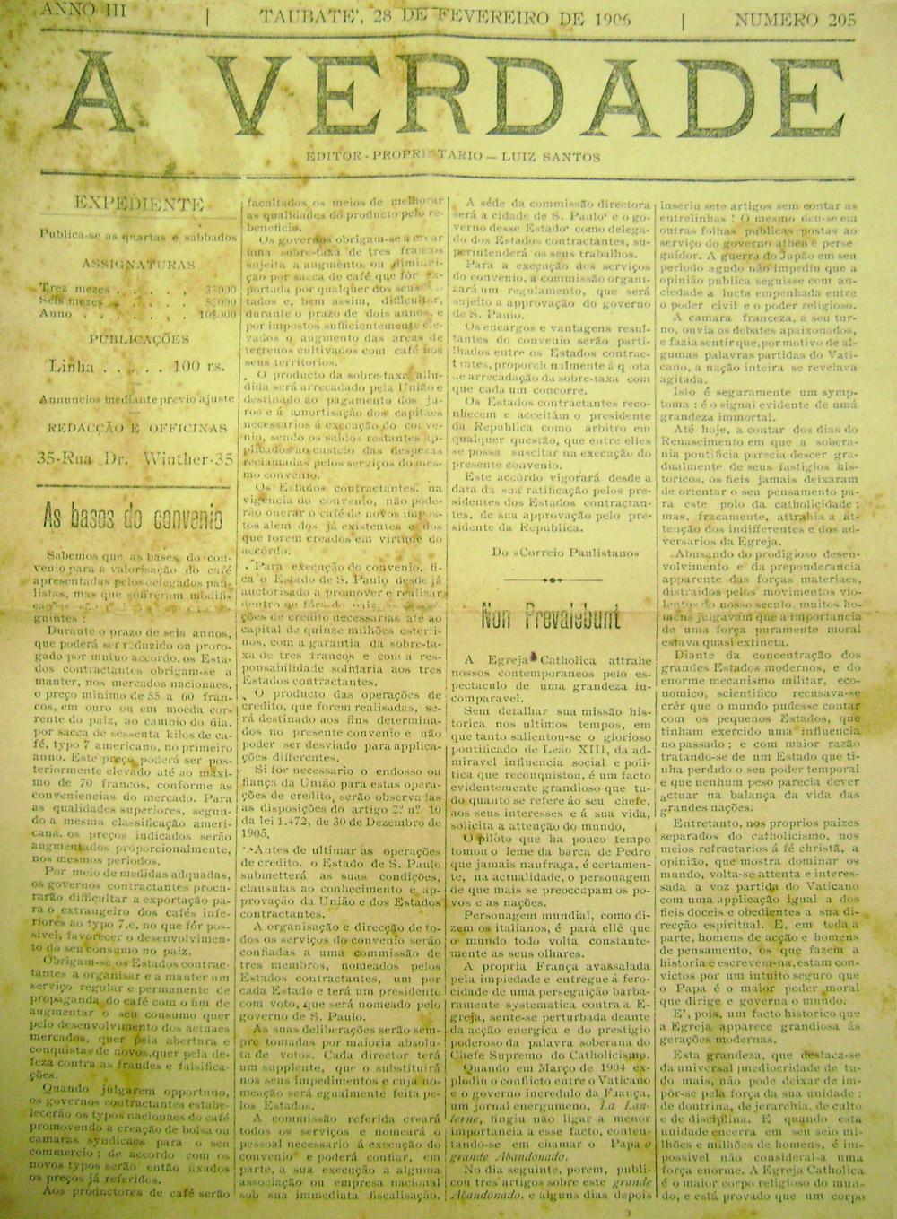 A Verdade, de 28 de fevereiro de 1906