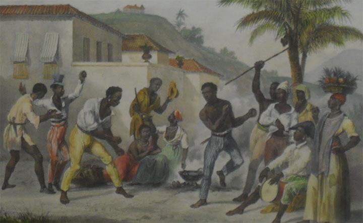 Escravos jogam capoeira na cidade. Jean Baptiste Debret