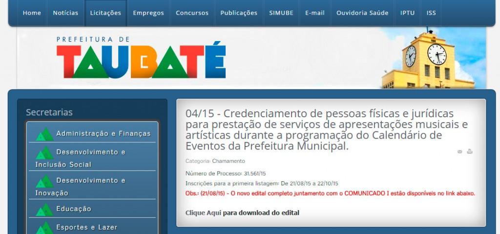 Cópia da tela do site da Prefeitura de Taubaté com data do lançamento do edital.